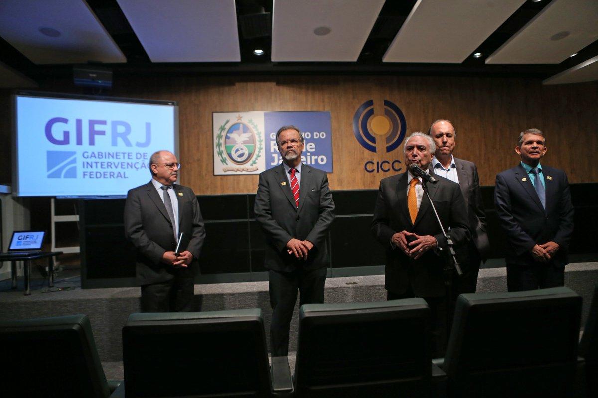 @BroadcastImagem: Temer, no Rio, sobre a intervenção: relatos são de queda dos índices de criminalidade. Wilton Júnior/Estadão