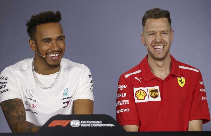 @BroadcastImagem: Hamilton e Vettel falam sobre o GP da Austrália de F1, que abre a temporada de 2018. Rick Rycroft/AP