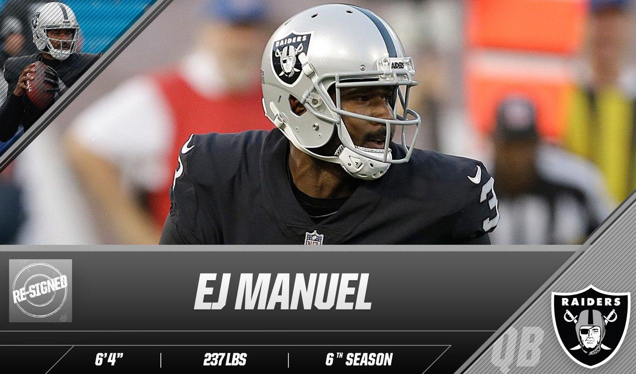 Back in the fold.  The Raiders have re-signed EJ Manuel: https://t.co/rcKfqllCey https://t.co/za8MfGgQG4