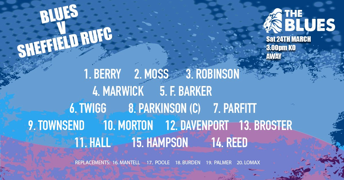 test Twitter Media - The Blues look to build on the home win against Luctonians away at @sheffieldrufc - here are the men for the job!! #backingmacc #comeonyoublues https://t.co/DhSaPmKytm