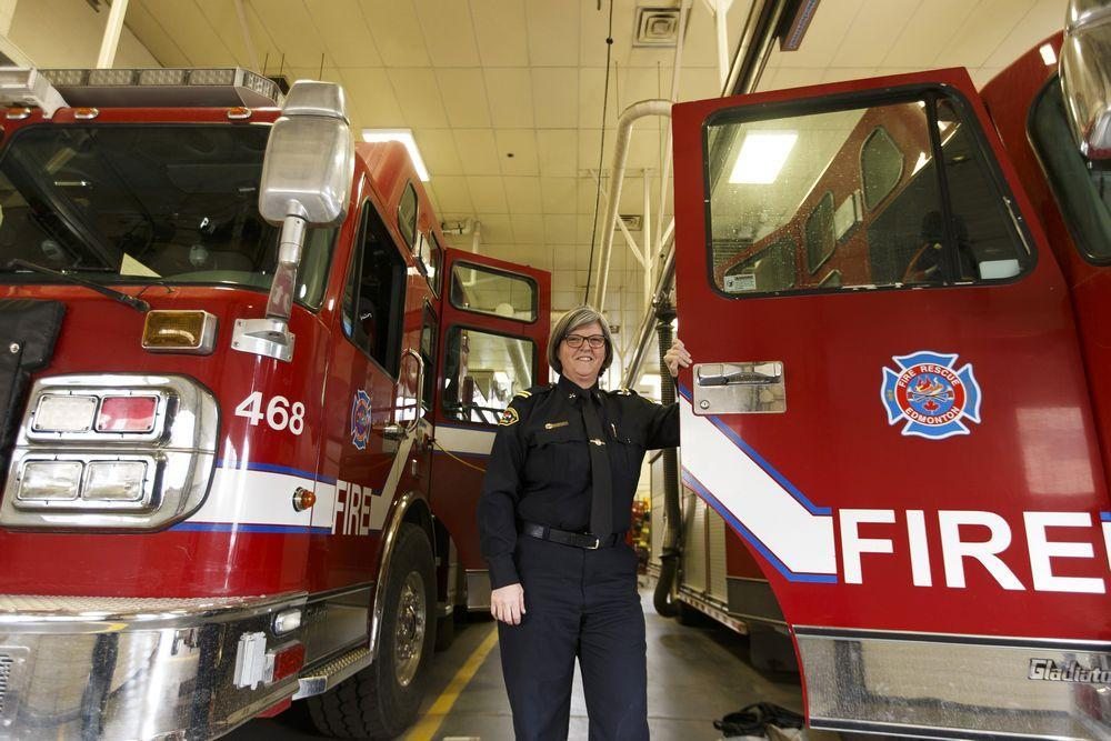 First woman to become an Edmonton firefighter celebrates 30 years on the job