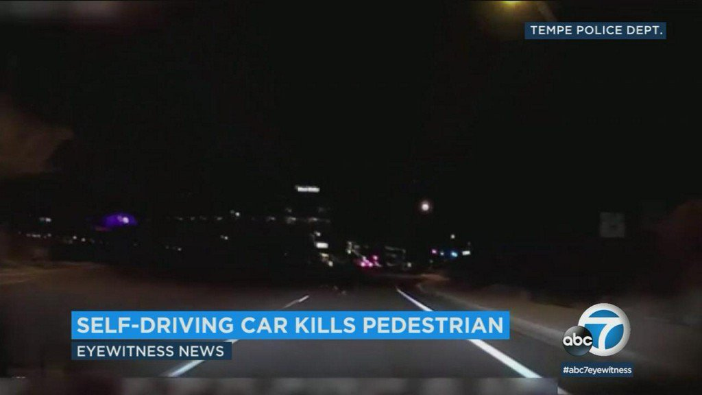 Video shows self-driving Uber car's fatal collision with pedestrian in Arizona
