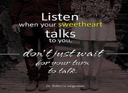 Listen when your sweetheart talks to you, don't just wait for your turn to talk.  #EFT #Love #Relationship https://t.co/hwV5Hh8OoY