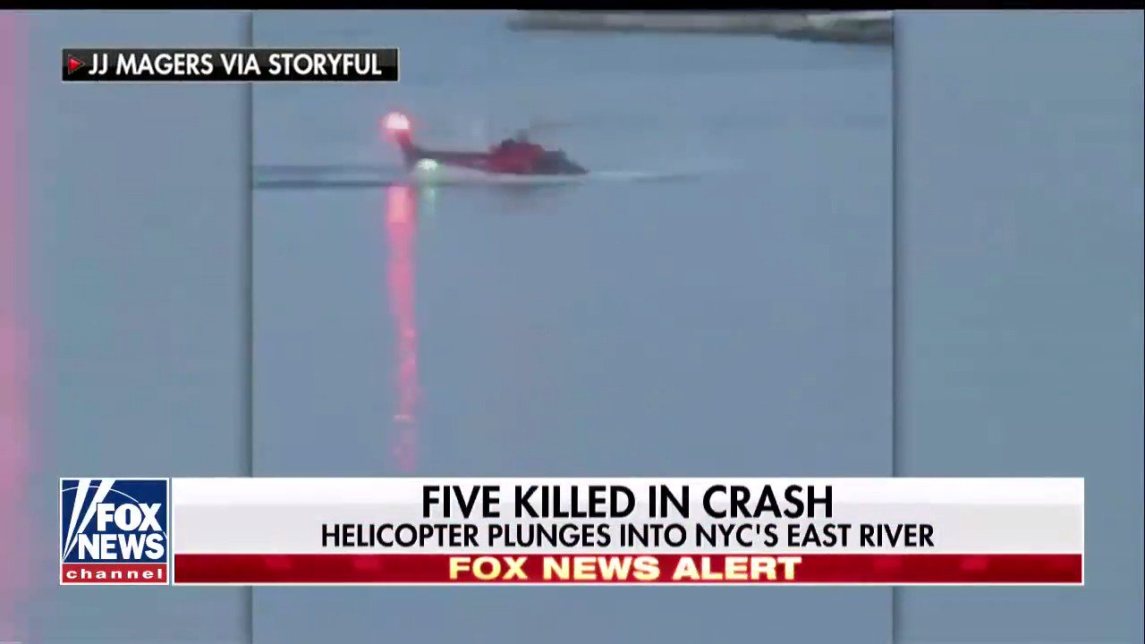 Helicopter crashes in New York City's East River; all 5 passengers dead, pilot only survivor https://t.co/5UECkEv357 https://t.co/BcFZfaouSE