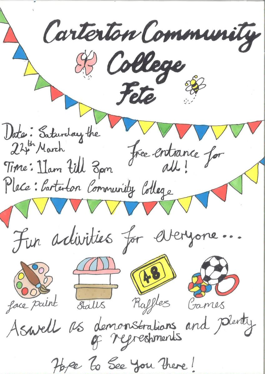 test Twitter Media - RT @mrslatermaths: Everybody's invited to our school fete Saturday 24th March 11am to 3pm. @CartertonCC https://t.co/pV3gCTp0cZ