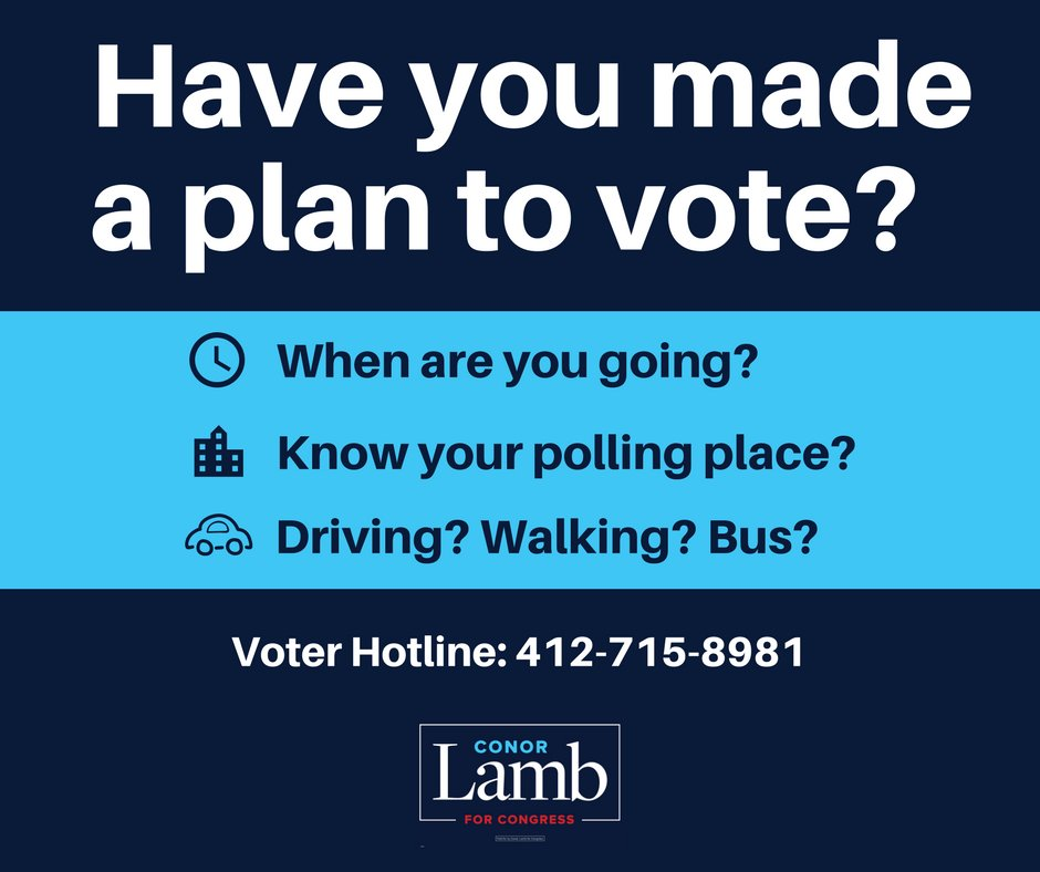 RT @ConorLambPA: 17 hours until polls open in #PA18. Make your plan to VOTE TOMORROW! #GOTV https://t.co/ne92uvUB1S