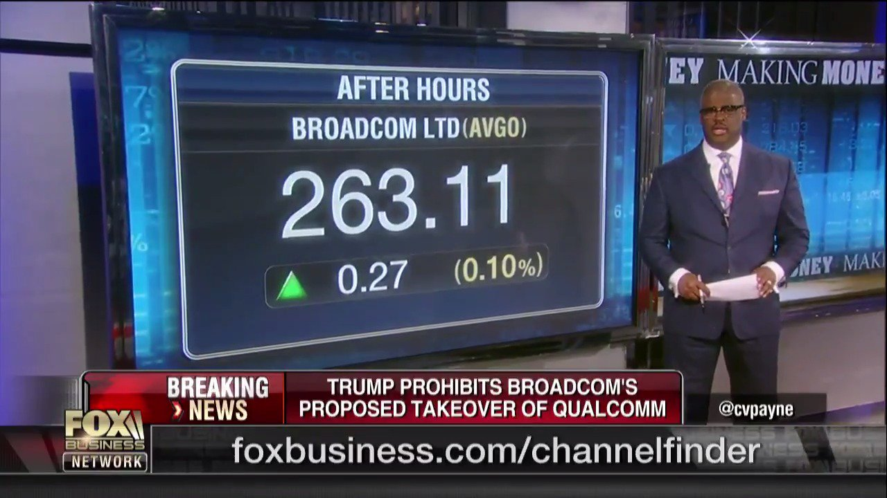 #BreakingNews: Trump blocks Broadcom's $117B bid for Qualcomm https://t.co/Y2RNGnpHX9 https://t.co/cYqnMVlpoT