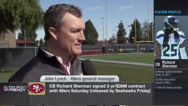 'With Richard we add championship pedigree right away.' -GM @JohnLynch49ers to @wyche89. #BrickByBrick https://t.co/7yGOLzvFf8