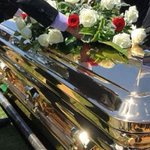 Golden casket and motorbikes at Liam Scorsese's funeral