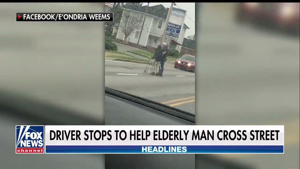 Driver stops to help elderly man cross street https://t.co/EWYvVMbnZC