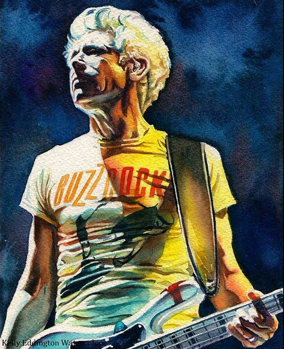 Happy birthday, Adam Clayton ! Photogenic AND paintogenic. 10 x7 watercolor by me.