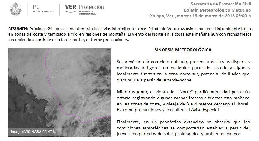 #BoletínMeteorológico para el Estado de #Veracruz del 13 de marzo de 2016 https://t.co/SlCSMNzi6I