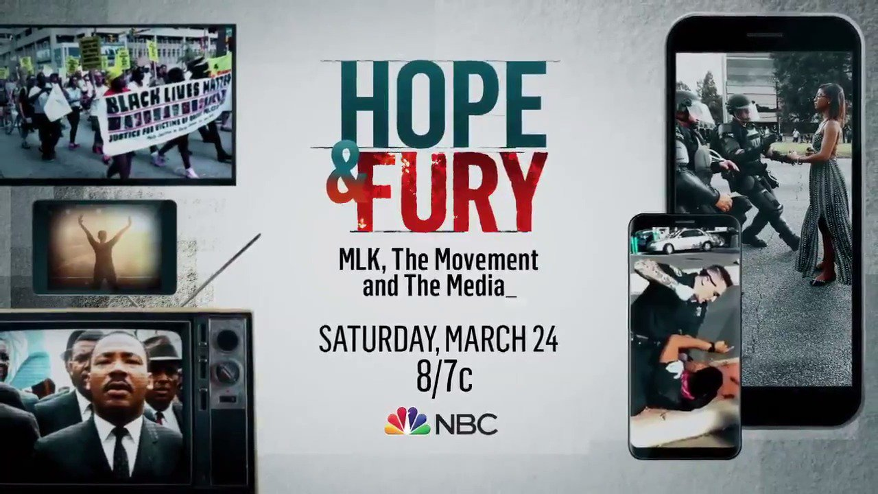 #HopeandFury: MLK, The Movement and The Media  March 24 at 8 p.m. ET on NBC  #MLK50: https://t.co/uOzQDmDeWr https://t.co/MDv5ub9fHx