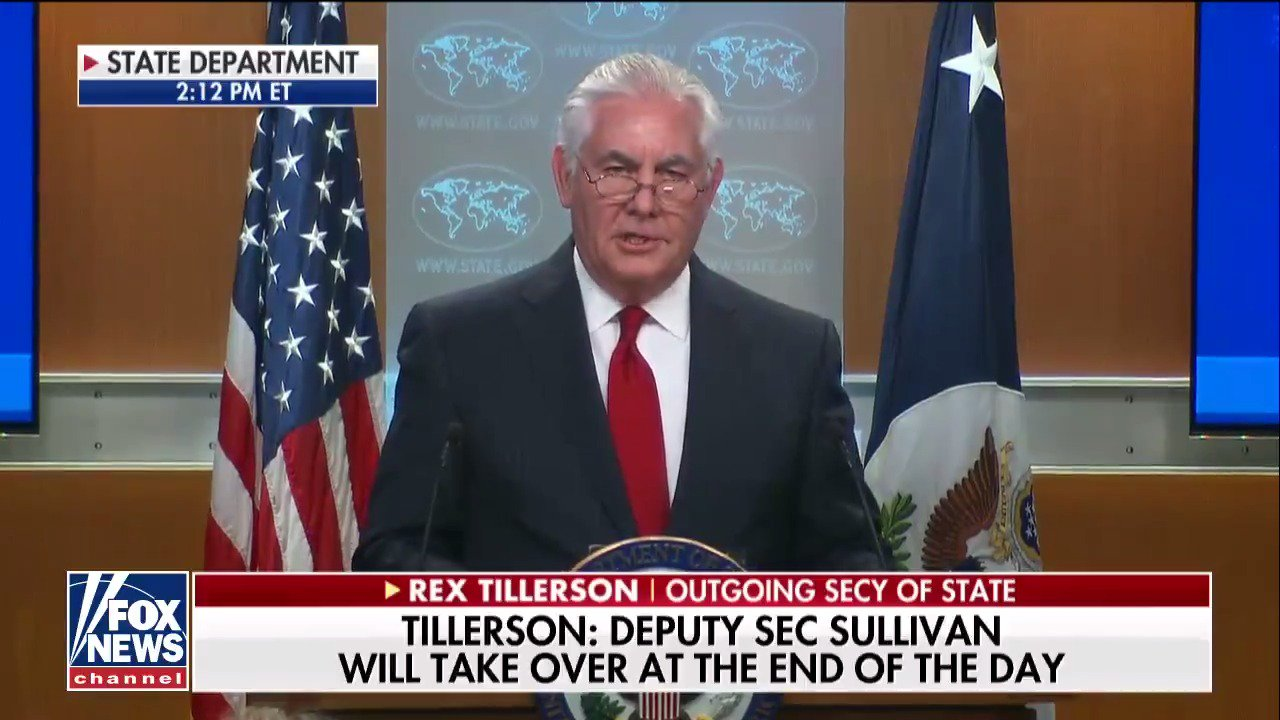 "Rex Tillerson: ""My commission as secretary of state will terminate at midnight March the 31st."" https://t.co/T9Ky8PTVG1"