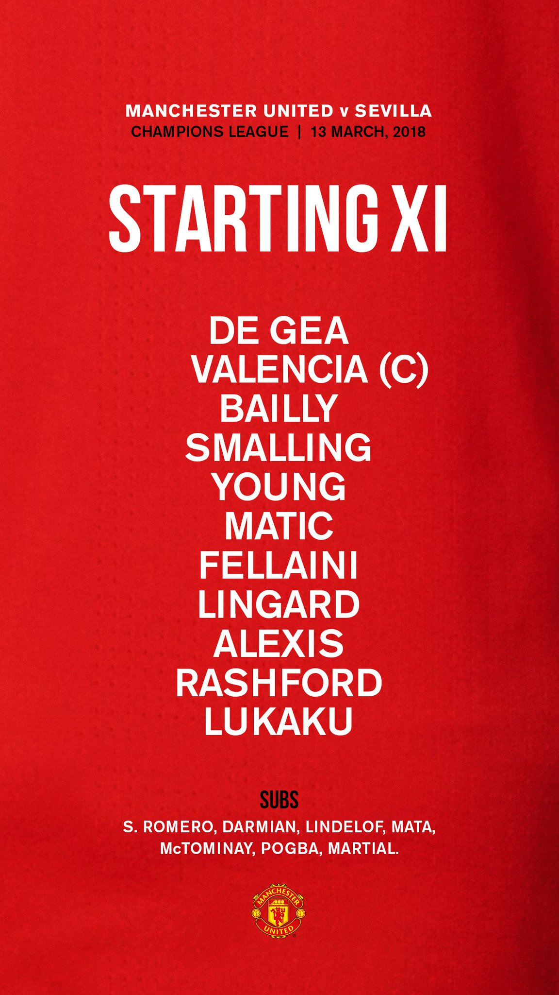 How #MUFC line up for tonight's #UCL clash... https://t.co/a7OsKpvmhD