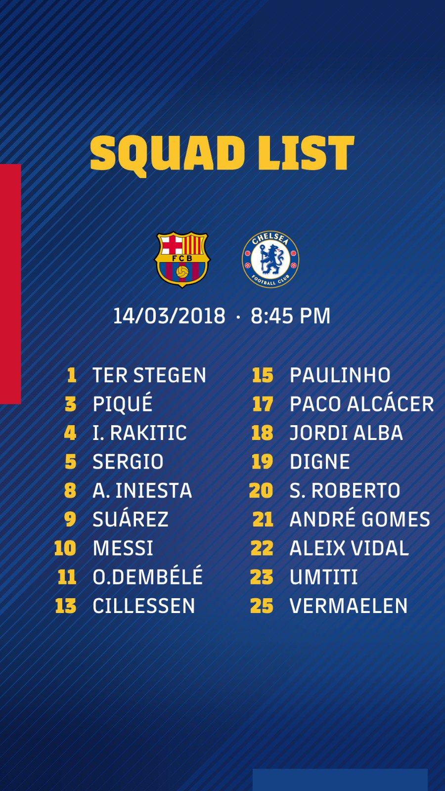 �� Squad list ���� #BarçaChelsea https://t.co/7YgKzKnl1U