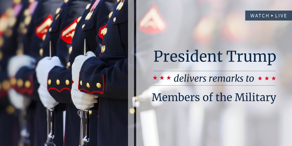 Watch LIVE as President Trump delivers remarks to members of the military: https://t.co/EmsdctGWtd https://t.co/fjjv6FQeaS