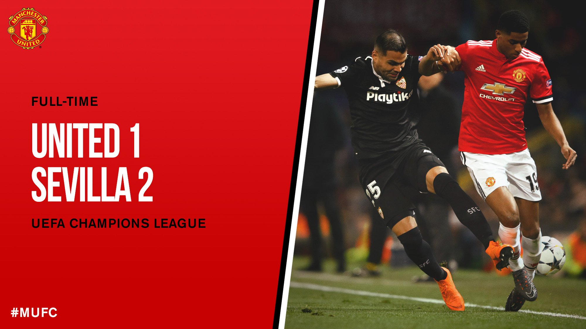 FT: #MUFC 1 Sevilla 2.  United bow out of the #UCL. https://t.co/Ly3o53oON7