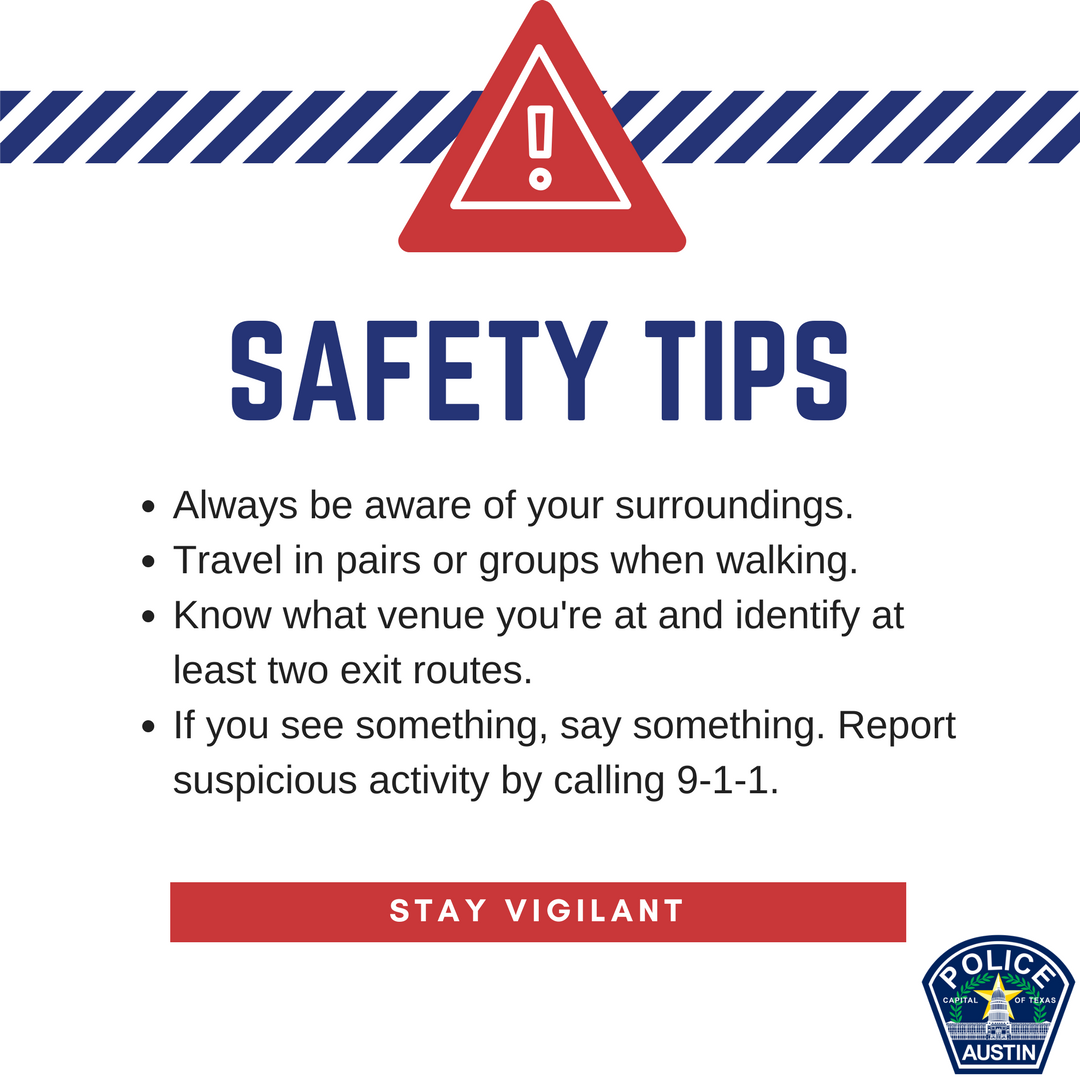 Visiting for #SXSW? Have fun, but be safe. If there's an emergency, it's best to know where you are so that we can send help to your location. Look for EXIT signs when inside a venue in case you need you evacuate. If you see something suspicious, call 9-1-1. #AustinPD #Safety https://t.co/pGOjb2xH5Y