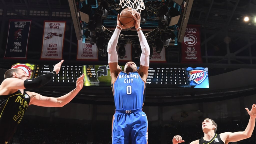 �� There it is  32p/12a/10r Russ' 100th career triple-double. #WhyNot? https://t.co/QhkqYTMVqR