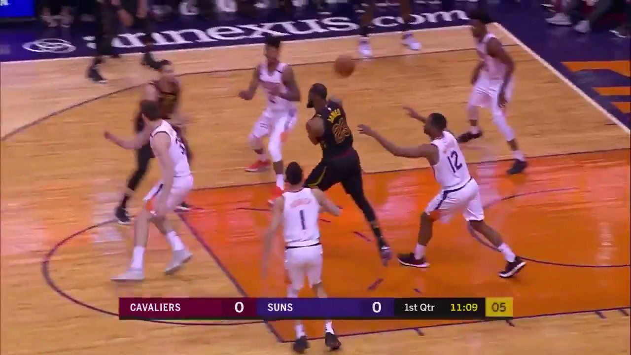 �� Two possessions...two no-look dimes for LBJ! ��  #AllForOne https://t.co/bihnsfLg6U