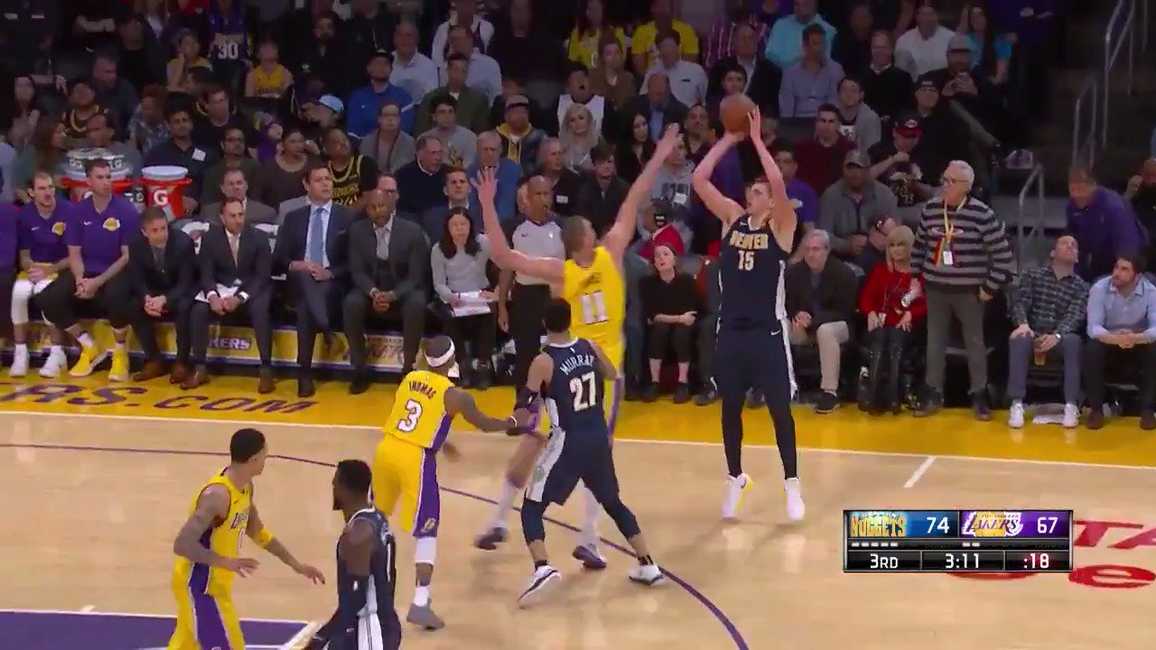 Joker 4-point play! ��  @nuggets lead by 10 on @NBATV.  #MileHighBasketball https://t.co/saQiYD02y8