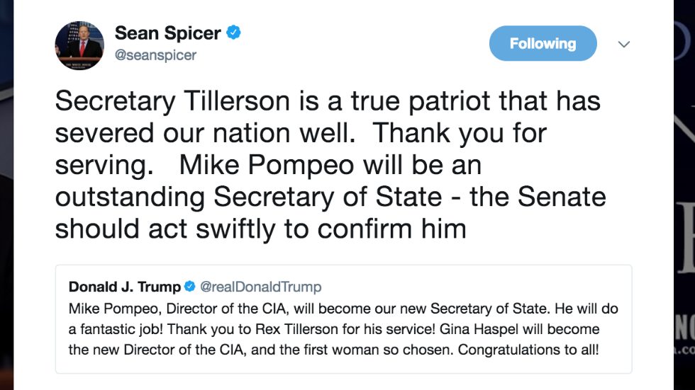 Sean Spicer mocked for typo saying Tillerson 'severed' the country https://t.co/YszHGmO49m https://t.co/YjkZwTwnie