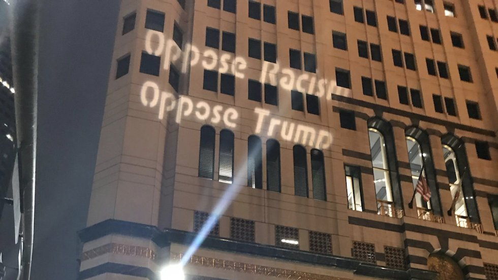 "Protesters project ""Oppose Trump"" on building across the street from Trump hotel: https://t.co/rrBwlU8DTl https://t.co/H5noUpl8Ff"