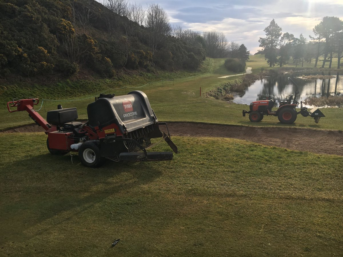 test Twitter Media - After the snow has finally gone , taking the opportunity for coring the greens . https://t.co/usvAEmImIa
