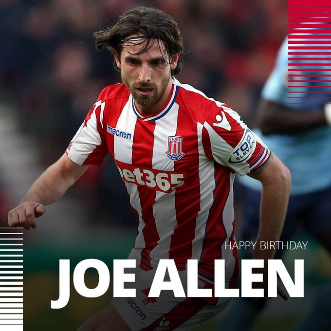 """stokecity: Happy Birthday to Joe Allen who turns 2  8 today!     premierleague"