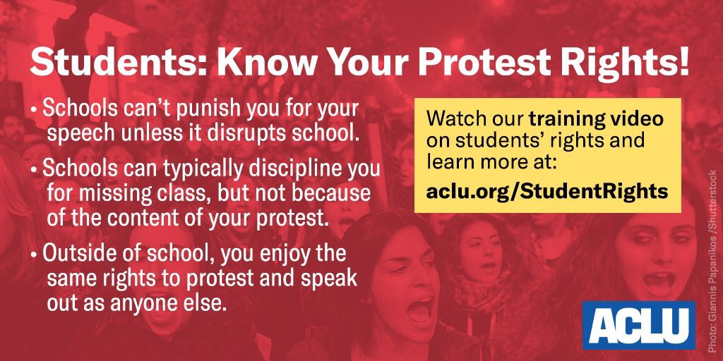 RT @ACLU: Students: Know Your Rights.  #NationalWalkoutDay https://t.co/ZMMf6jGtne