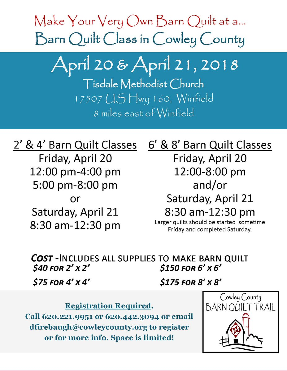 test Twitter Media - Ever wanted to learn how to make a barn quilt? We will be offering Barn Quilt Class on April 20 & 21, Friday & Saturday in Winfield, check out the flyer and make sure you register as spaces are limited and class fills FAST! https://t.co/GdlbwhBKmm