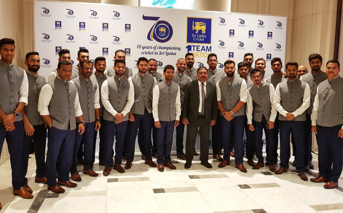 Picture that for a frame ?? #TeamIndia gather for an official function in Colombo. https://t.co/mjYlVgbvfC