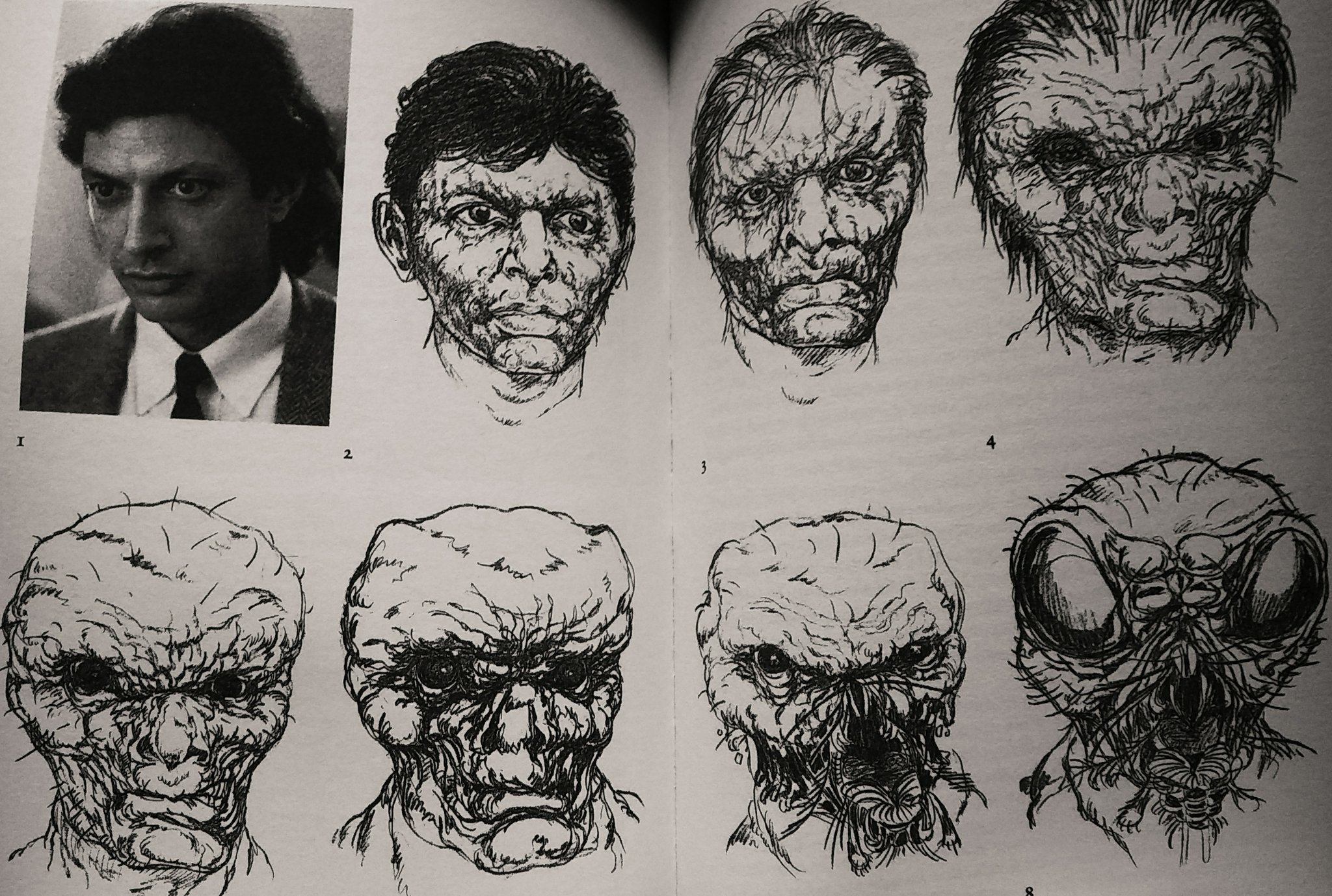 The 8 stages of Seth Brundle becoming Brundle-Fly.  Art by: makeup designer Chris Walas https://t.co/9jvb24POVr