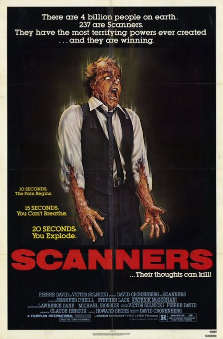 Happy 75th birthday to David Cronenberg. Scanners, 1981.