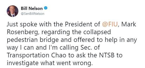 .@SenBillNelson on bridge collapse. https://t.co/eJZaLyCdjj https://t.co/Xw6KCTP7OU