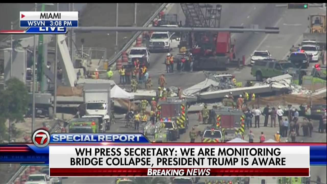 .@PressSec: We are monitoring bridge collapse, @POTUS is aware. https://t.co/eJZaLyCdjj https://t.co/2QldhKsMPg
