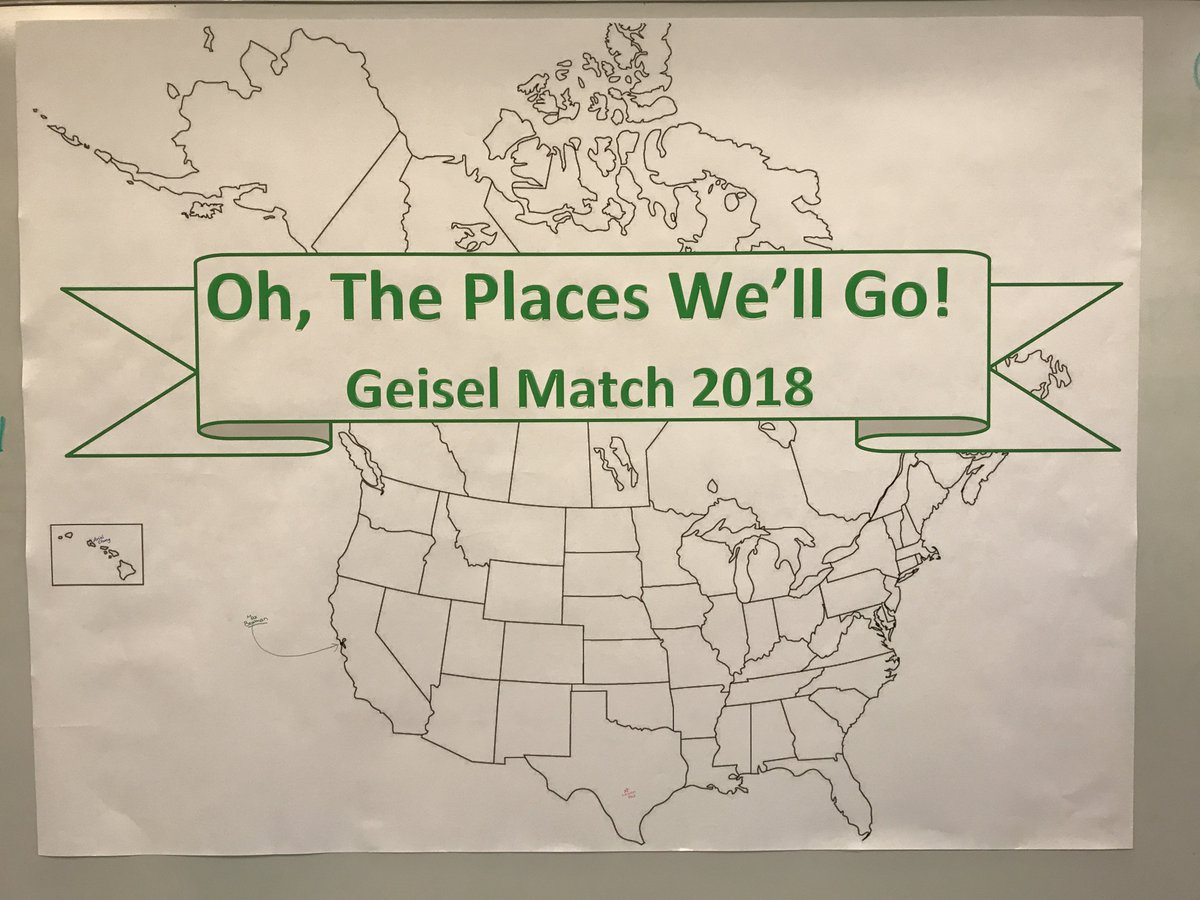 RT @GeiselMed: Oh, the places you will go, Geisel18s!  Can't wait to see #MatchDay results on this map. #GeiselMatch18 #Match2018 https://t…
