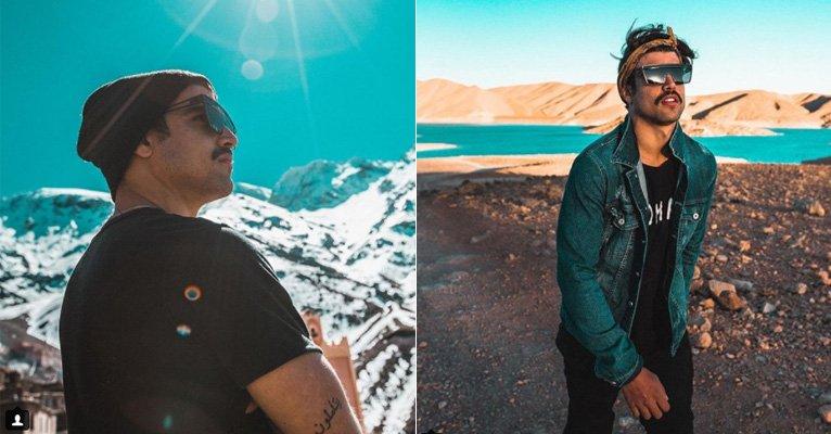 Caio Castro. Foto do site da Caras Brasil que mostra Caio Castro viaja pelo Marrocos de carro e exibe paisagens incríveis do país