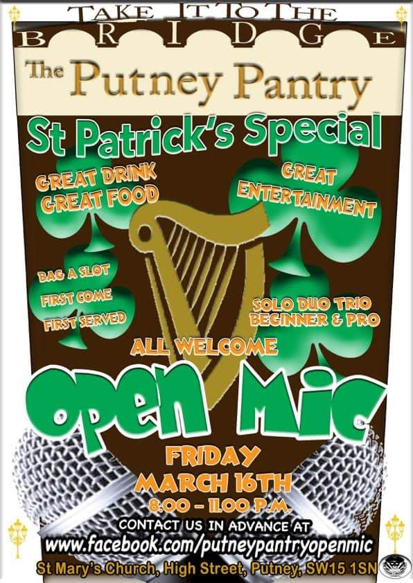 St Patrick's Day Open Mic Tonigh