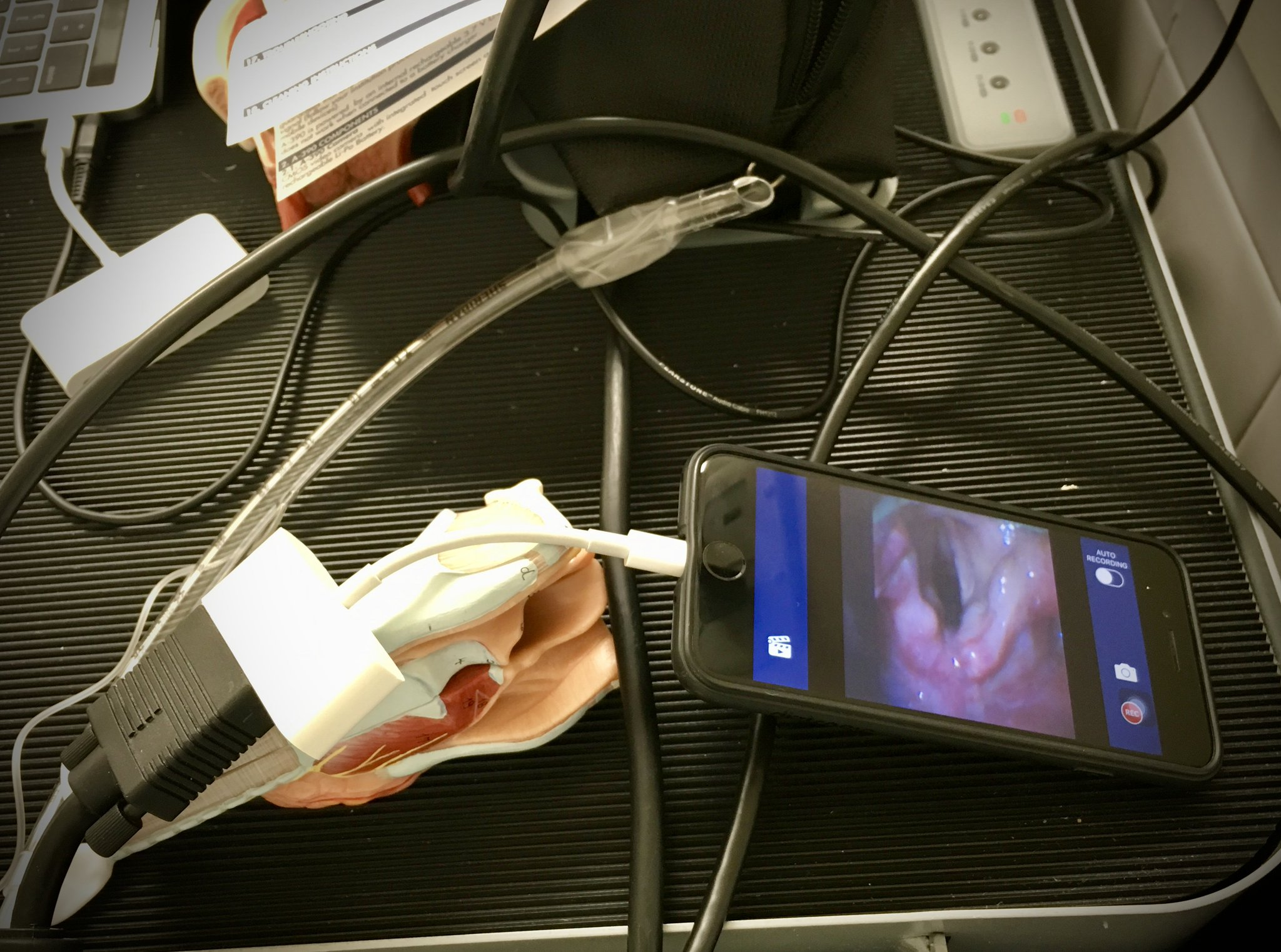 Repurposing old technology at #PAC2018 Trachea model holding up HDMI cable to iPhone throwing glottic images via new Airtraq camera to multiple screens for Airway course! @jducanto @gueromedico @ResusOnTheRoad @jameshorowitzmd @Doclief See u all next year! https://t.co/1eIkRq6mVI