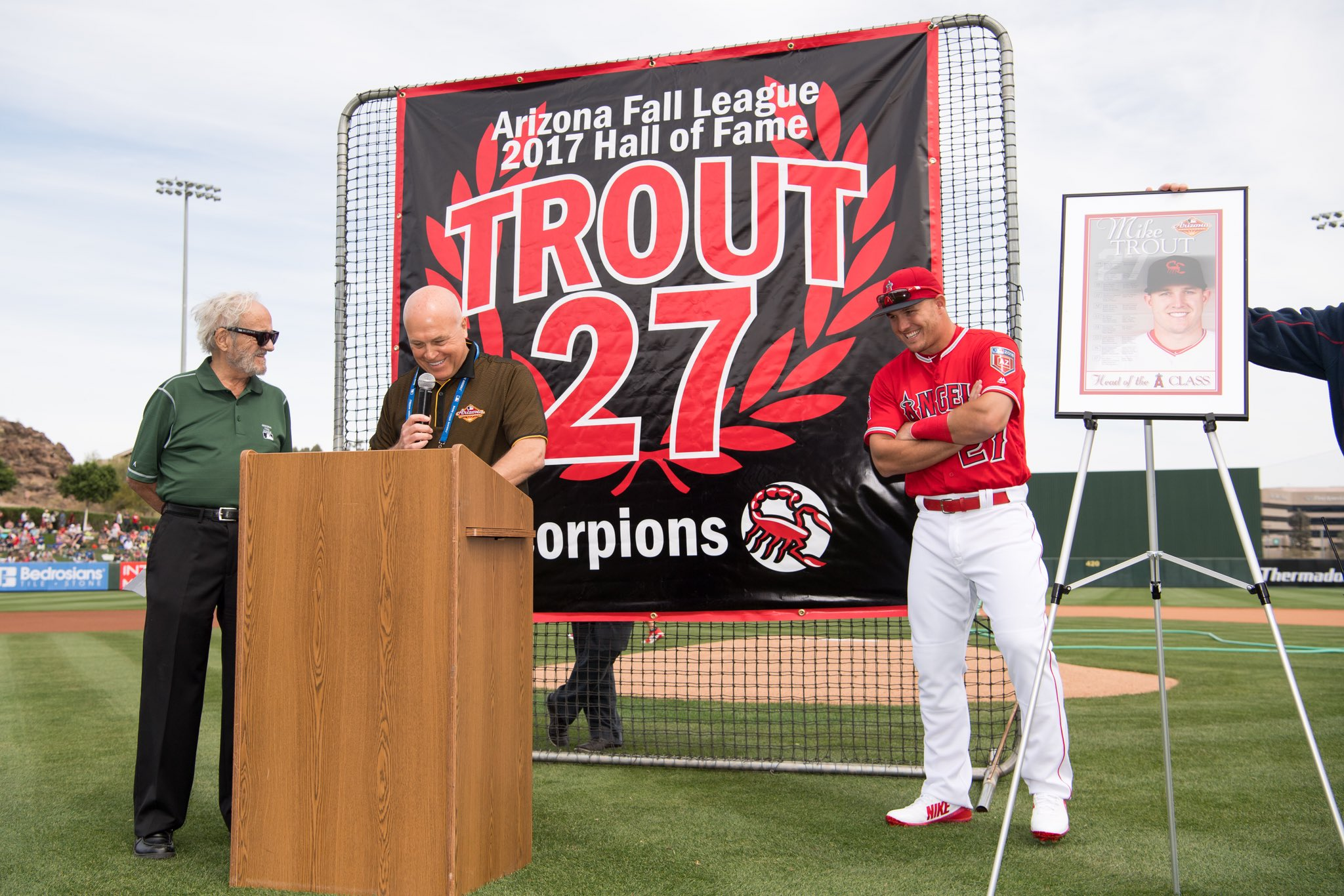 Congrats to 2017 @MLBazFallLeague Hall of Fame Inductee, @MikeTrout!  Have any more room on your mantel? https://t.co/VZzyuXJBSA
