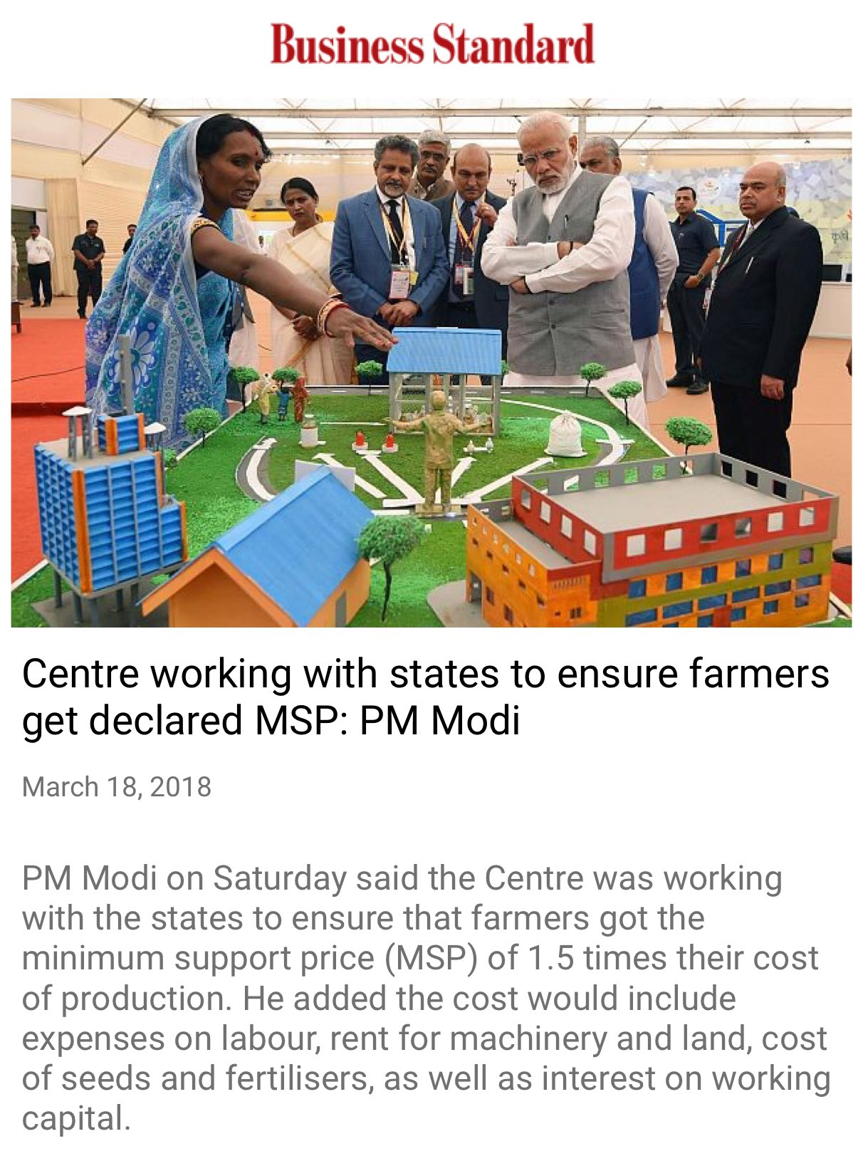 Centre working with states to ensure farmers get declared MSP: PM Modi https://t.co/CRQo0UxYmA  via NMApp https://t.co/UTPzgPZkZL