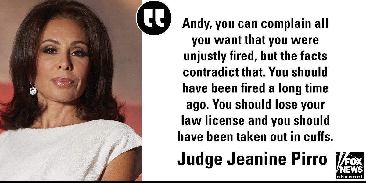 On 'Justice,' @JudgeJeanine had words for recently-fired Deputy @FBI Director Andrew McCabe. https://t.co/Tujqq8hxHl https://t.co/i4hrxPPiTt