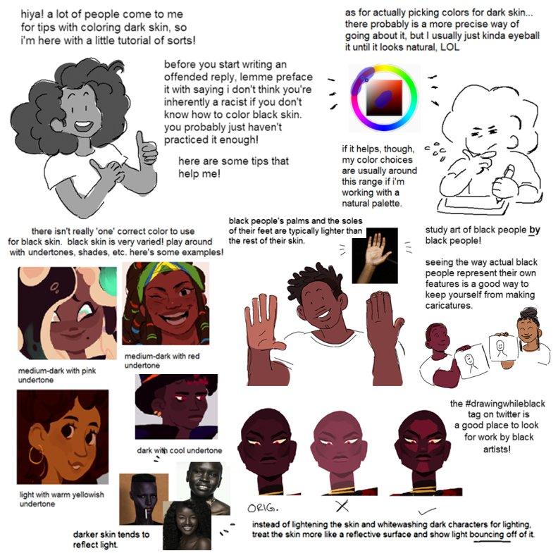 Our feature tutorial for #SkillUpSunday today is this set of VITAL tips for how to approach SKIN TONE colouring, by the always excellent @deluxepeach! I love how CONCISE and easy to grasp each point it, this is REALLY useful stuff! #animationdev #gamedev #drawingwhileblack #draw https://t.co/YwJDUpnzQc