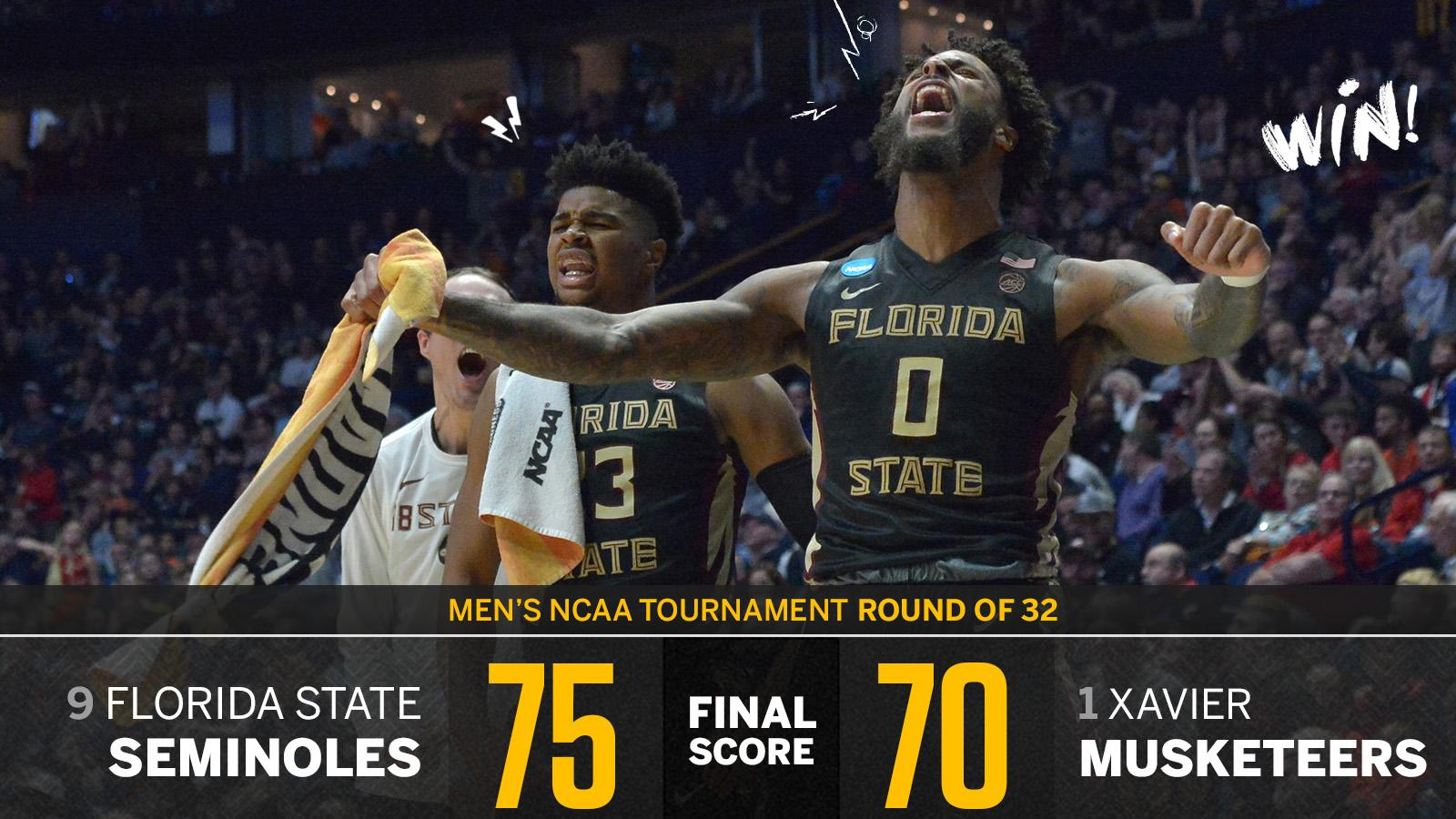 Another 1-seed falls!  Xavier blows a late 9-point lead as FSU storms into the Sweet 16. https://t.co/wJ3vYjB786