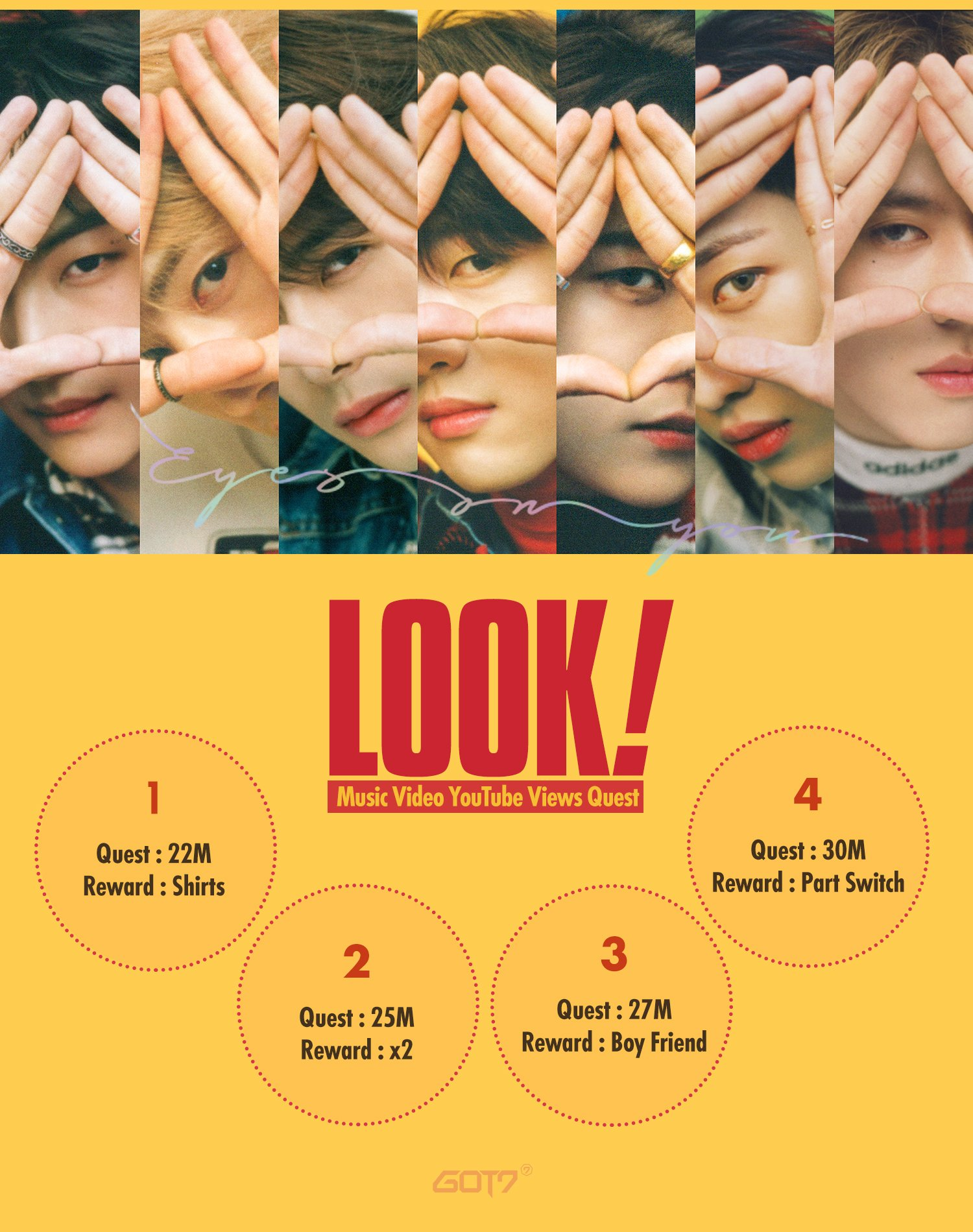 'Look' →ᆴᄂ↓ᄃチ→ᄍト→ヤヤ↓リᄂ ↓ワᅠ■ネᆲ→ᄌフ ↓ᄀᄚ■レフ↓ネリ ■タリ↓ハᄂ■ハᄌ Quest for 'Look' Music Video YouTube Views  #GOT7 #↑ᄚモ↓トᄌ→ᄌミ #EyesOnYou #Look #MVQuest https://t.co/1CjIIiyeyY