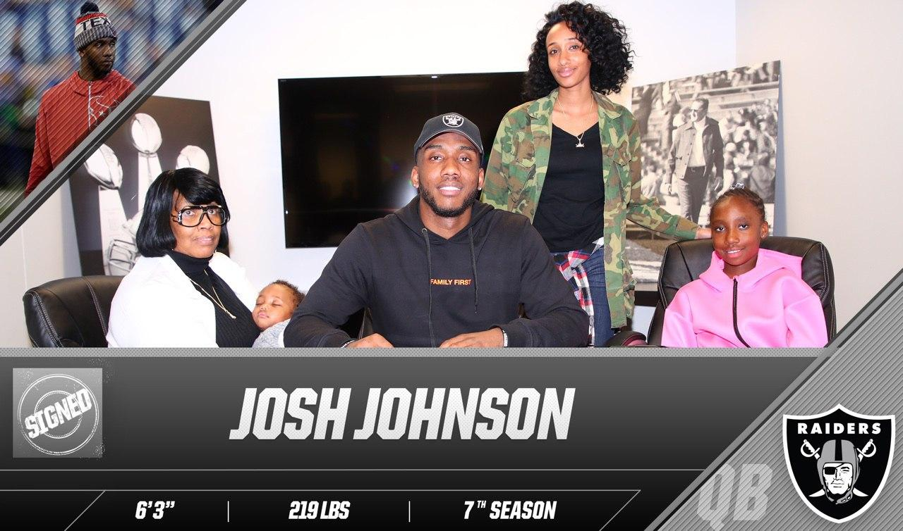 Welcome home, @Fam1stFamilyQB.  The Raiders have signed QB Josh Johnson: https://t.co/DITAm6DN6g https://t.co/ZmpcylBeoS