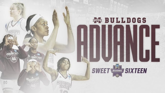 So SWEET!  For the third-straight season, your Bulldogs are heading to the Sweet Sixteen!  #HailState🐶 https://t.co/Er0oNPrzde