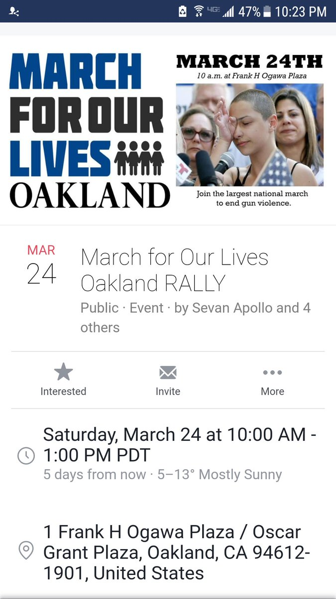 RT @fruitvalelocal: March for Our Lives Rally Sat 10 am Frank Ogawa Plaza https://t.co/00U4e9EO01
